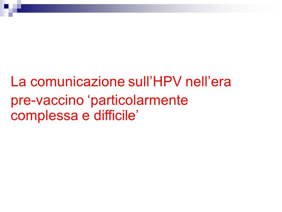 La comunicazione sull ' HPV nell ' era pre-vaccino 'particolarmente complessa e difficile'