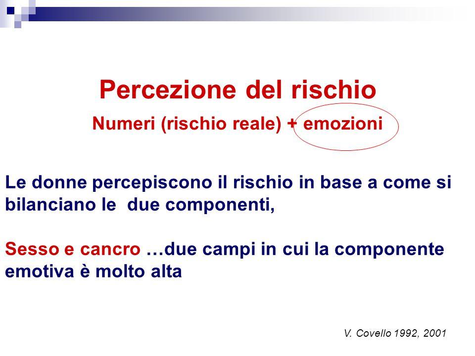 Percezione del rischio Numeri (rischio reale) + emozioni V. Covello 1992, 2001 Le donne percepiscono il rischio in base a come si bilanciano le due co