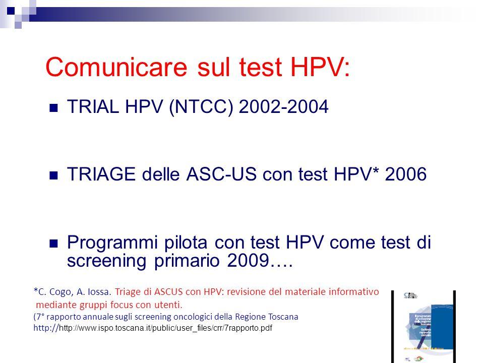 TRIAL HPV (NTCC) 2002-2004 TRIAGE delle ASC-US con test HPV* 2006 Programmi pilota con test HPV come test di screening primario 2009…. Comunicare sul