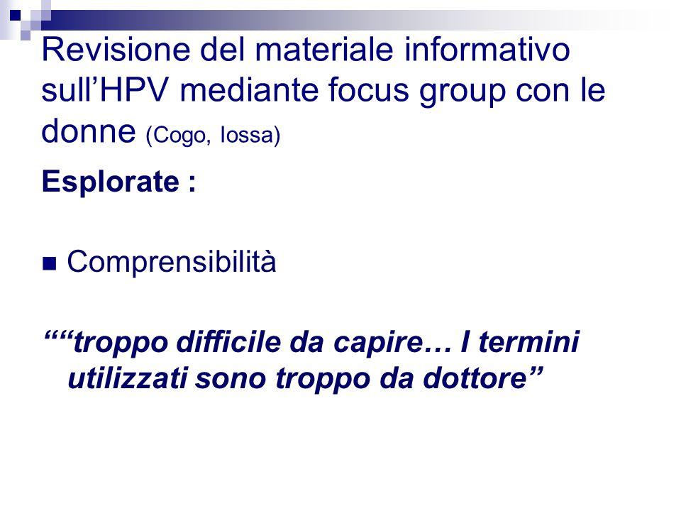 Revisione del materiale informativo sull'HPV mediante focus group con le donne (Cogo, Iossa) Esplorate : Comprensibilità troppo difficile da capire… I termini utilizzati sono troppo da dottore