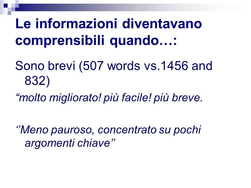 """Le informazioni diventavano comprensibili quando…: Sono brevi (507 words vs.1456 and 832) """"molto migliorato! più facile! più breve. ''Meno pauroso, co"""