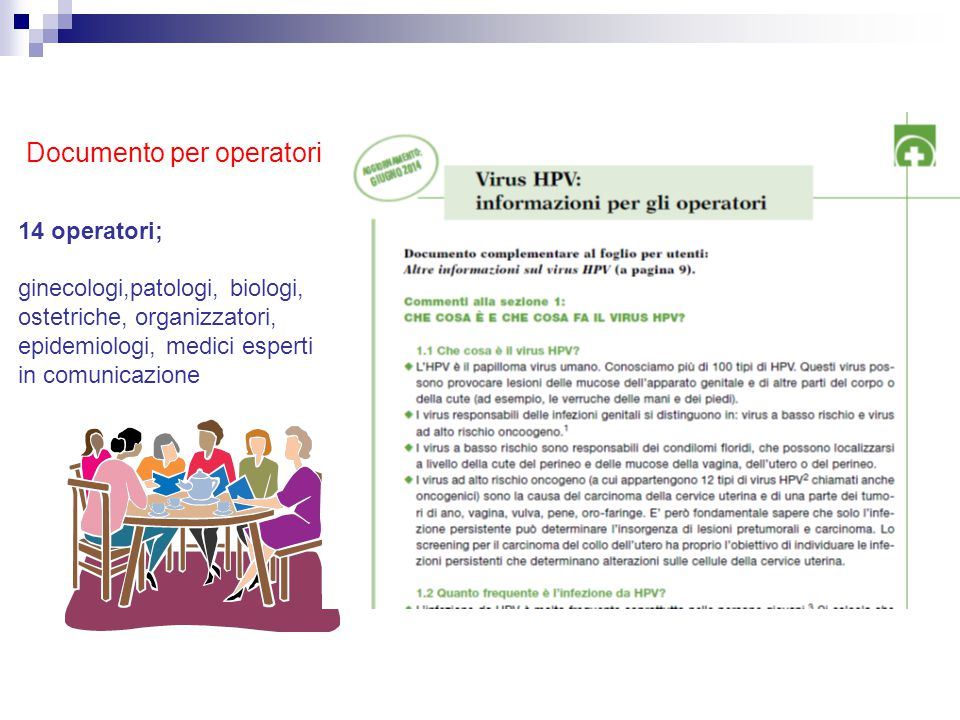 Documento per operatori 14 operatori; ginecologi,patologi, biologi, ostetriche, organizzatori, epidemiologi, medici esperti in comunicazione