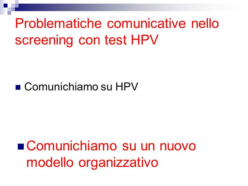 Problematiche comunicative nello screening con test HPV Comunichiamo su HPV Comunichiamo su un nuovo modello organizzativo