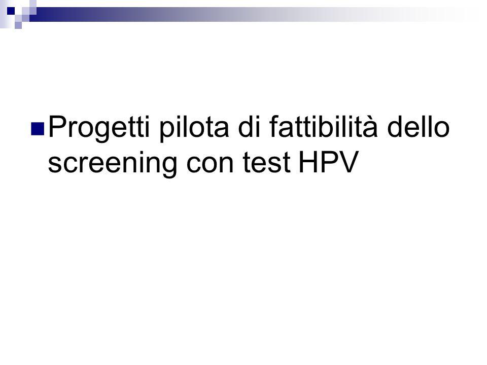 Progetti pilota di fattibilità dello screening con test HPV