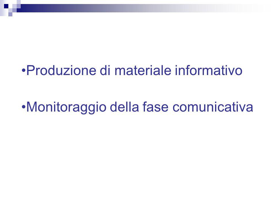 Produzione di materiale informativo Monitoraggio della fase comunicativa