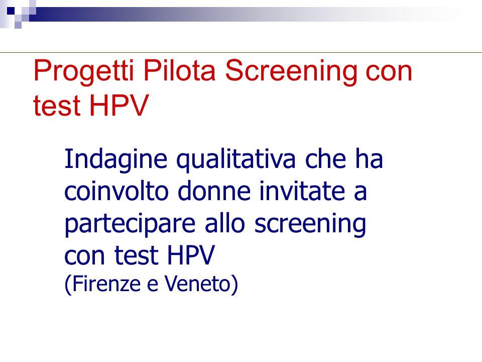 Progetti Pilota Screening con test HPV Indagine qualitativa che ha coinvolto donne invitate a partecipare allo screening con test HPV (Firenze e Venet