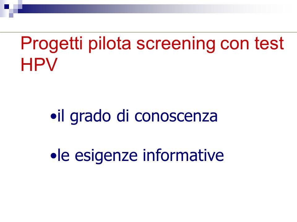 Progetti pilota screening con test HPV il grado di conoscenza le esigenze informative