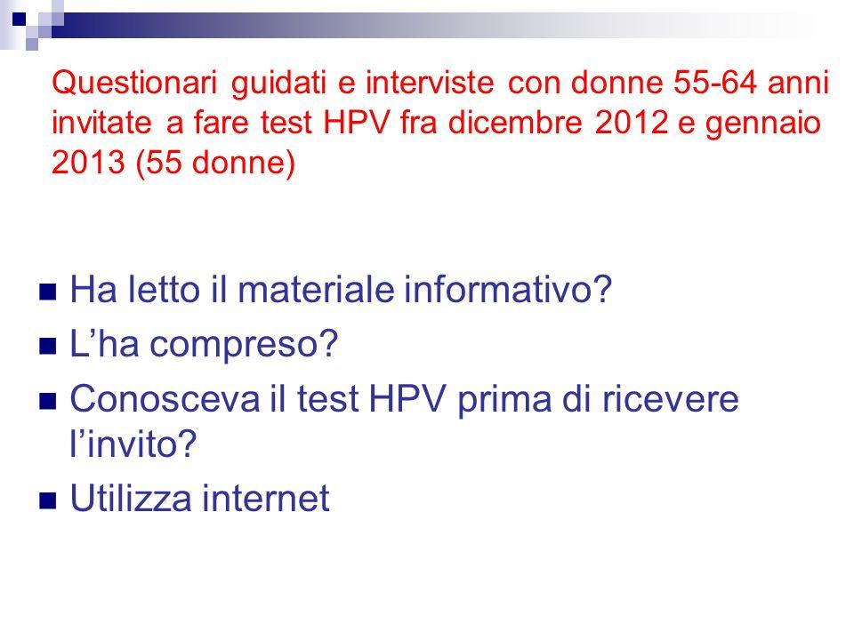 Ha letto il materiale informativo? L'ha compreso? Conosceva il test HPV prima di ricevere l'invito? Utilizza internet Questionari guidati e interviste