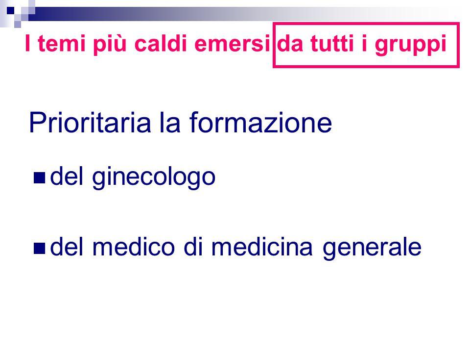 Prioritaria la formazione I temi più caldi emersi da tutti i gruppi del ginecologo del medico di medicina generale