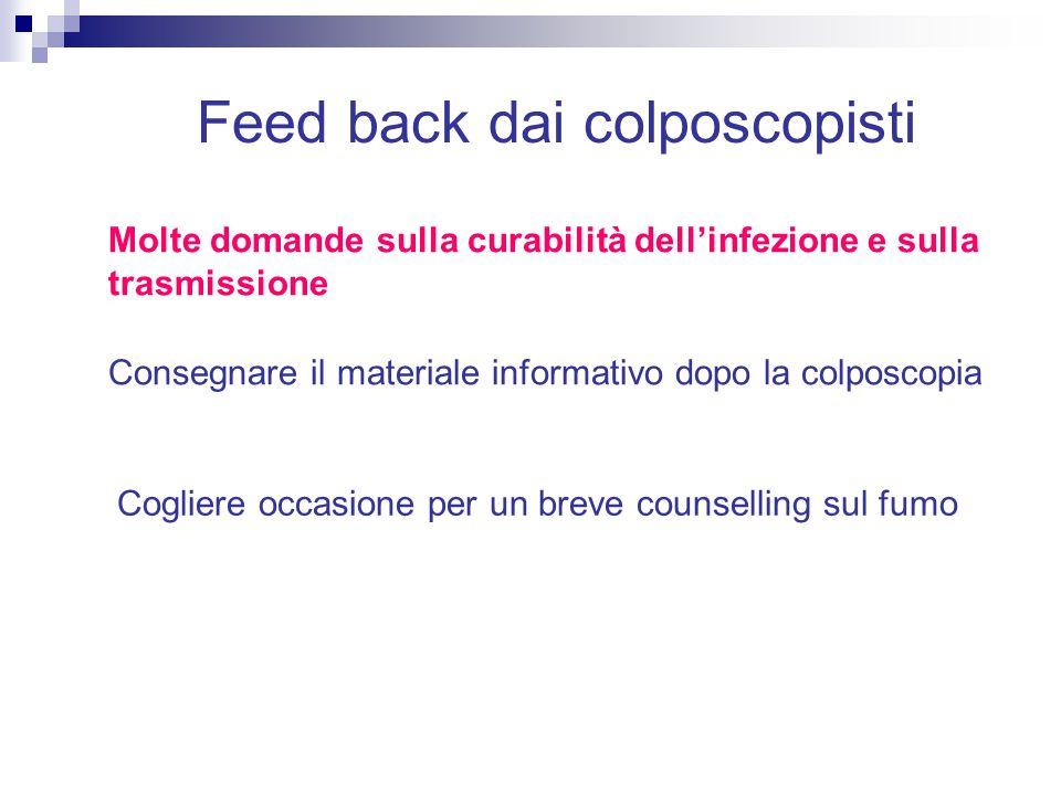 Feed back dai colposcopisti Molte domande sulla curabilità dell'infezione e sulla trasmissione Consegnare il materiale informativo dopo la colposcopia