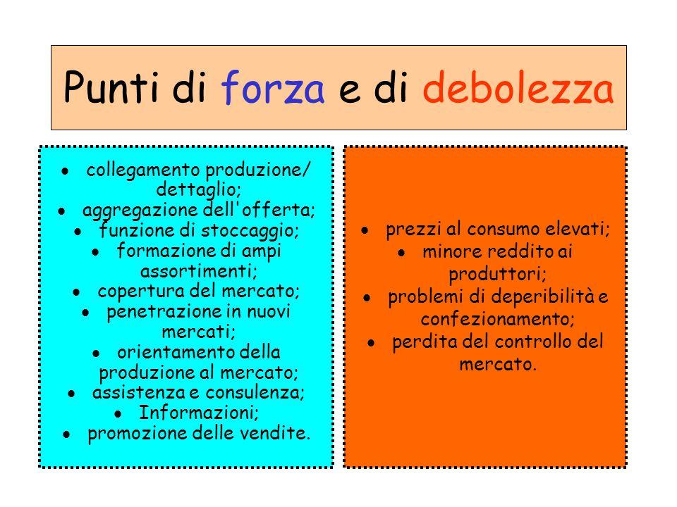Punti di forza e di debolezza  collegamento produzione/ dettaglio;  aggregazione dell'offerta;  funzione di stoccaggio;  formazione di ampi assort