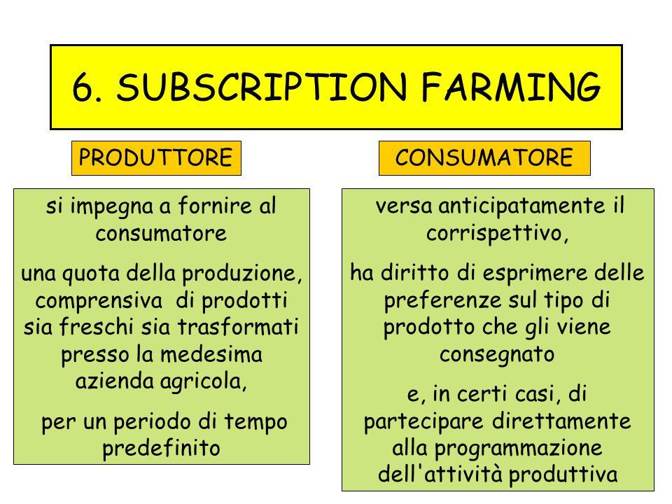 6. SUBSCRIPTION FARMING si impegna a fornire al consumatore una quota della produzione, comprensiva di prodotti sia freschi sia trasformati presso la