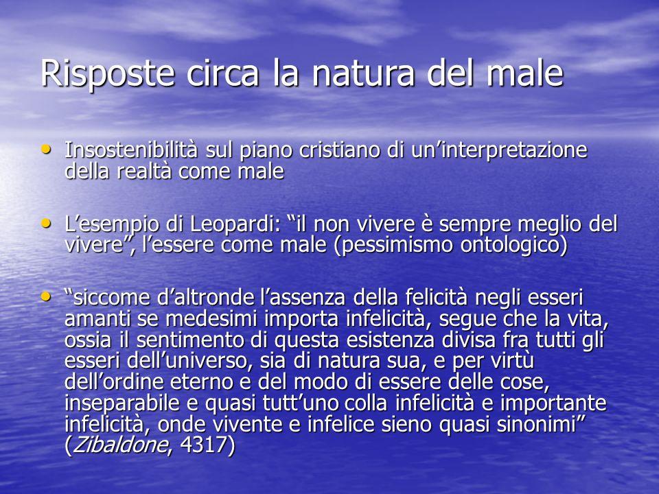 Risposte circa la natura del male Insostenibilità sul piano cristiano di un'interpretazione della realtà come male Insostenibilità sul piano cristiano