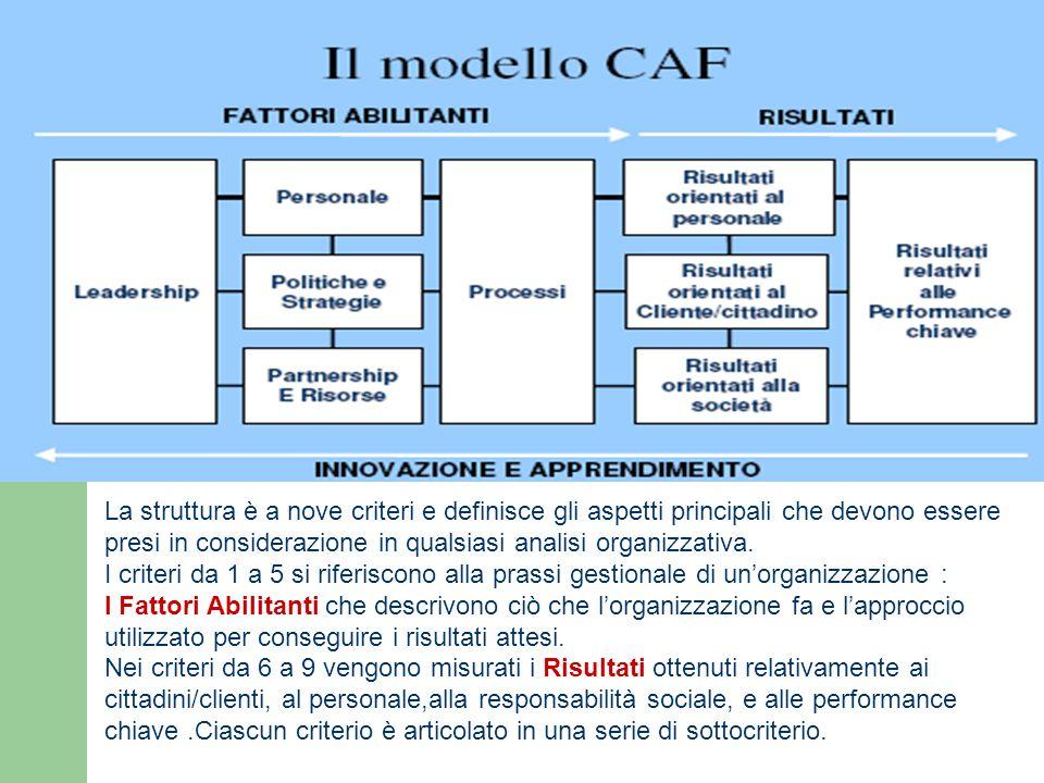 La struttura è a nove criteri e definisce gli aspetti principali che devono essere presi in considerazione in qualsiasi analisi organizzativa. I crite