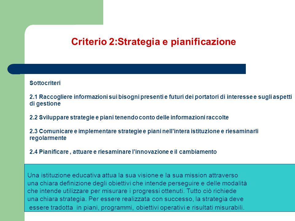Criterio 2:Strategia e pianificazione Sottocriteri 2.1 Raccogliere informazioni sui bisogni presenti e futuri dei portatori di interesse e sugli aspet