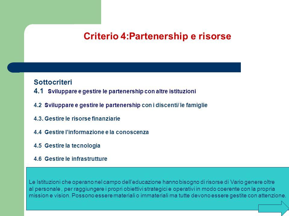 Criterio 4:Partenership e risorse Sottocriteri 4.1 Sviluppare e gestire le partenership con altre istituzioni 4.2 Sviluppare e gestire le partenership