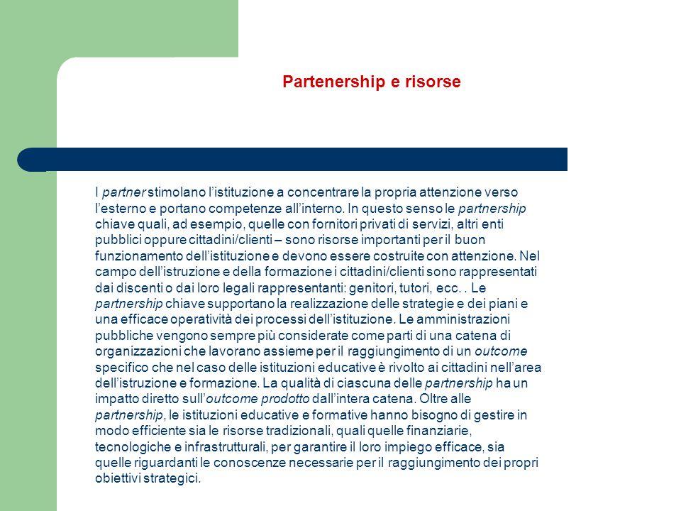 I partner stimolano l'istituzione a concentrare la propria attenzione verso l'esterno e portano competenze all'interno. In questo senso le partnership