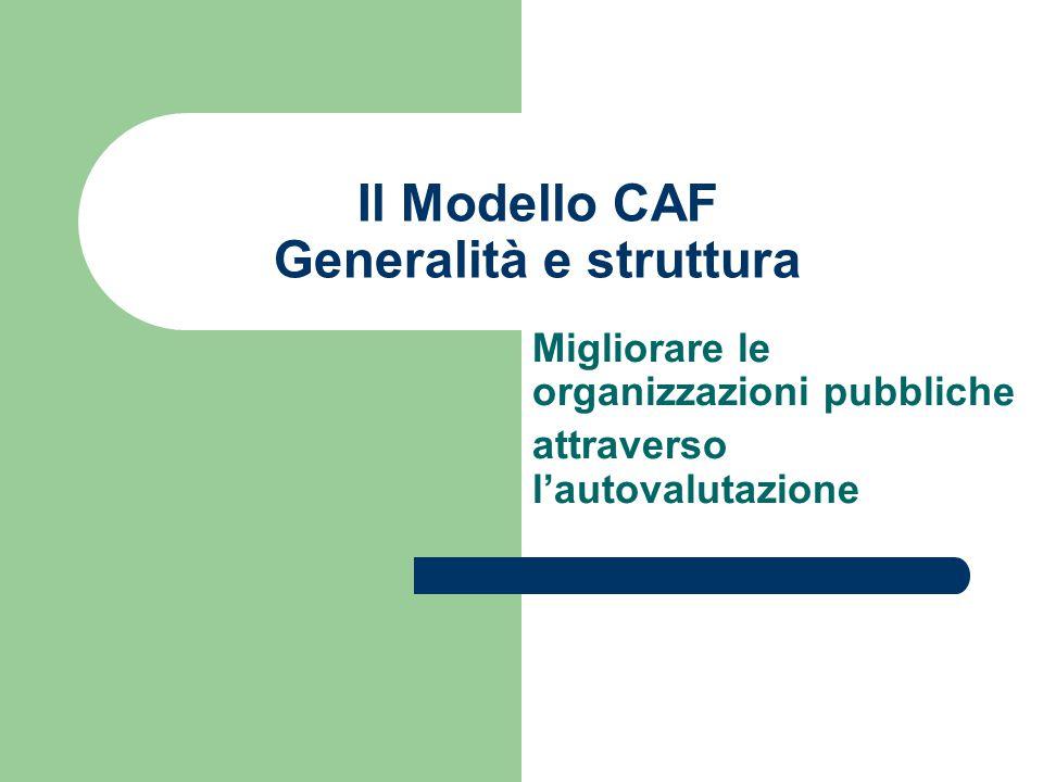 Il Modello CAF Generalità e struttura Migliorare le organizzazioni pubbliche attraverso l'autovalutazione