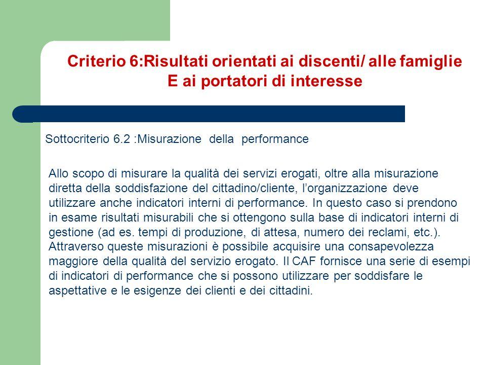 Criterio 6:Risultati orientati ai discenti/ alle famiglie E ai portatori di interesse Sottocriterio 6.2 :Misurazione della performance Allo scopo di m