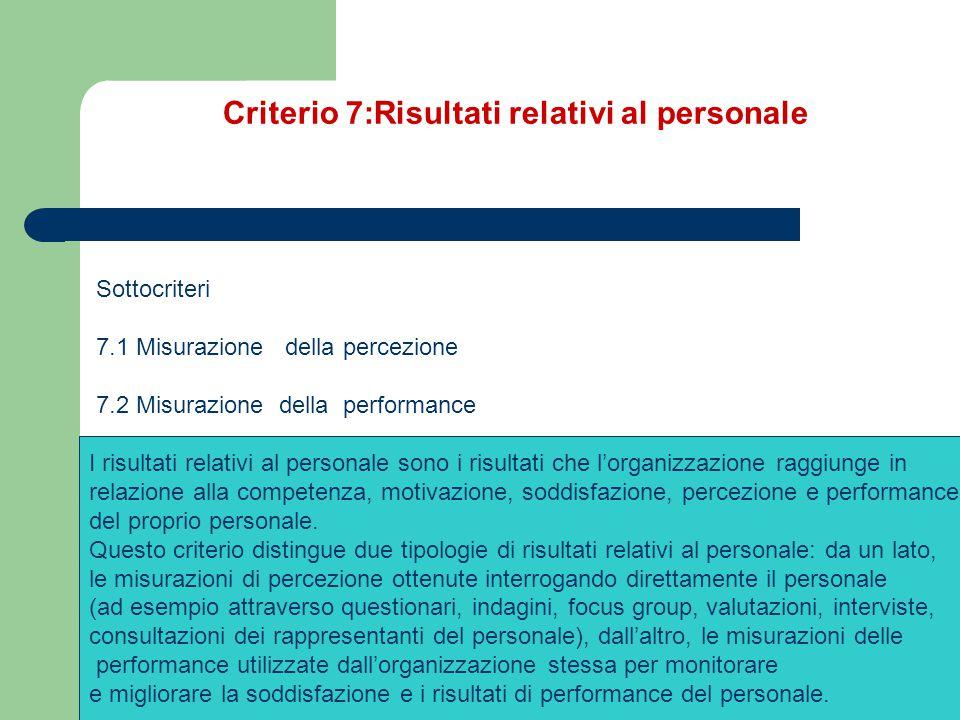 Criterio 7:Risultati relativi al personale Sottocriteri 7.1 Misurazione della percezione 7.2 Misurazione della performance. I risultati relativi al pe
