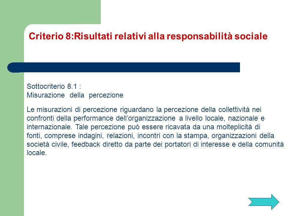 Sottocriterio 8.1 : Misurazione della percezione Le misurazioni di percezione riguardano la percezione della collettività nei confronti della performa