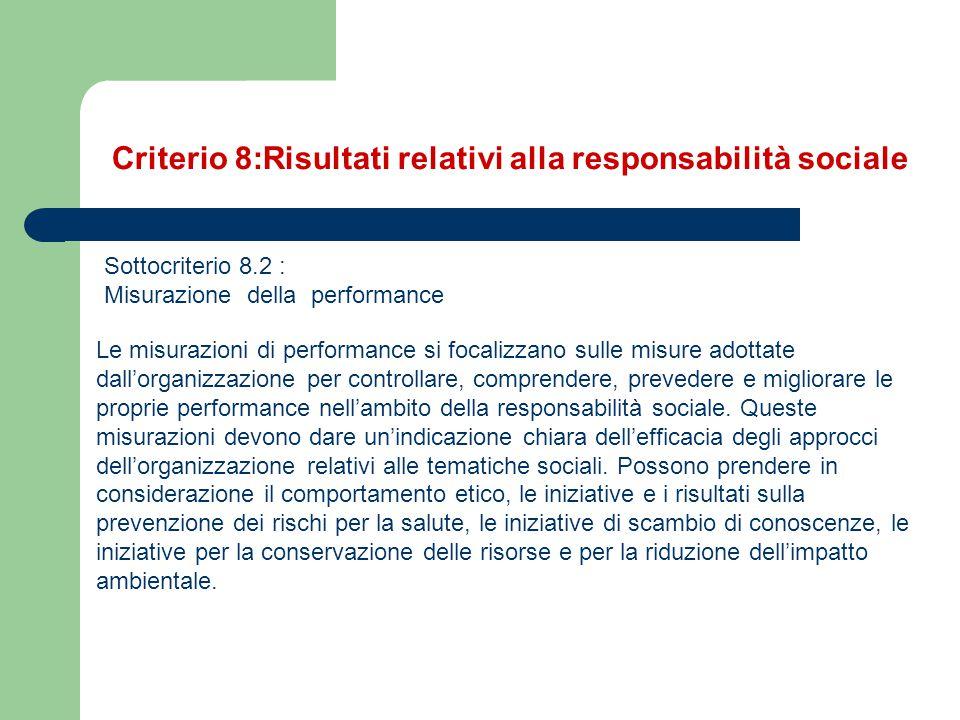 Sottocriterio 8.2 : Misurazione della performance Le misurazioni di performance si focalizzano sulle misure adottate dall'organizzazione per controlla