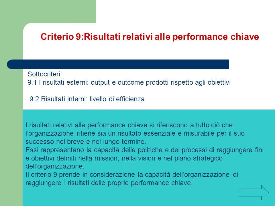 Criterio 9:Risultati relativi alle performance chiave Sottocriteri 9.1 I risultati esterni: output e outcome prodotti rispetto agli obiettivi 9.2 Risu