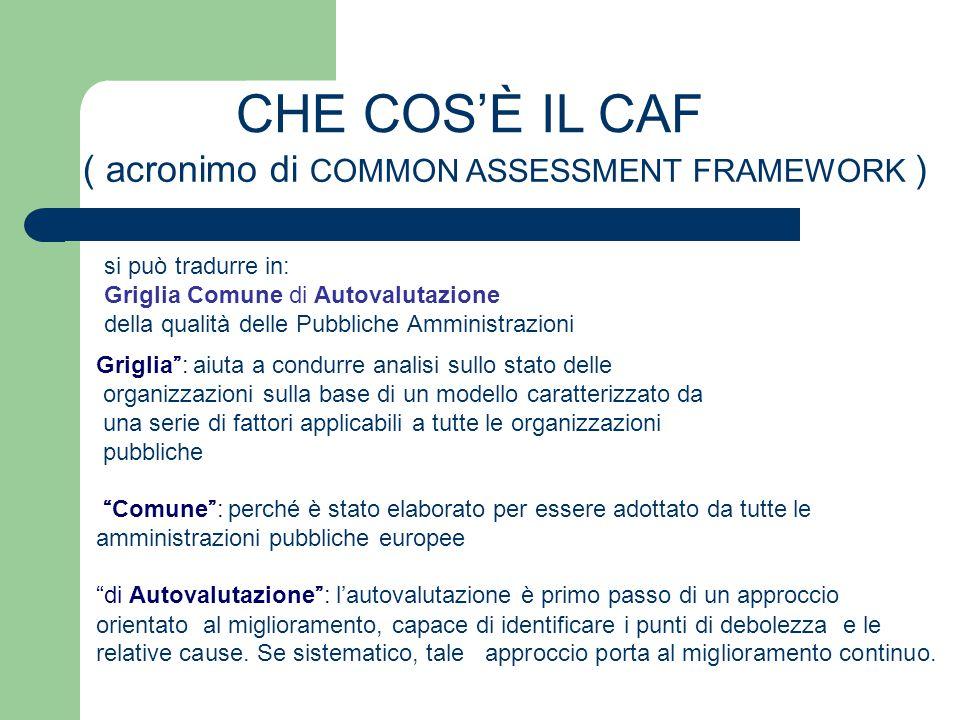 CHE COS'È IL CAF ( acronimo di COMMON ASSESSMENT FRAMEWORK ) si può tradurre in: Griglia Comune di Autovalutazione della qualità delle Pubbliche Ammin