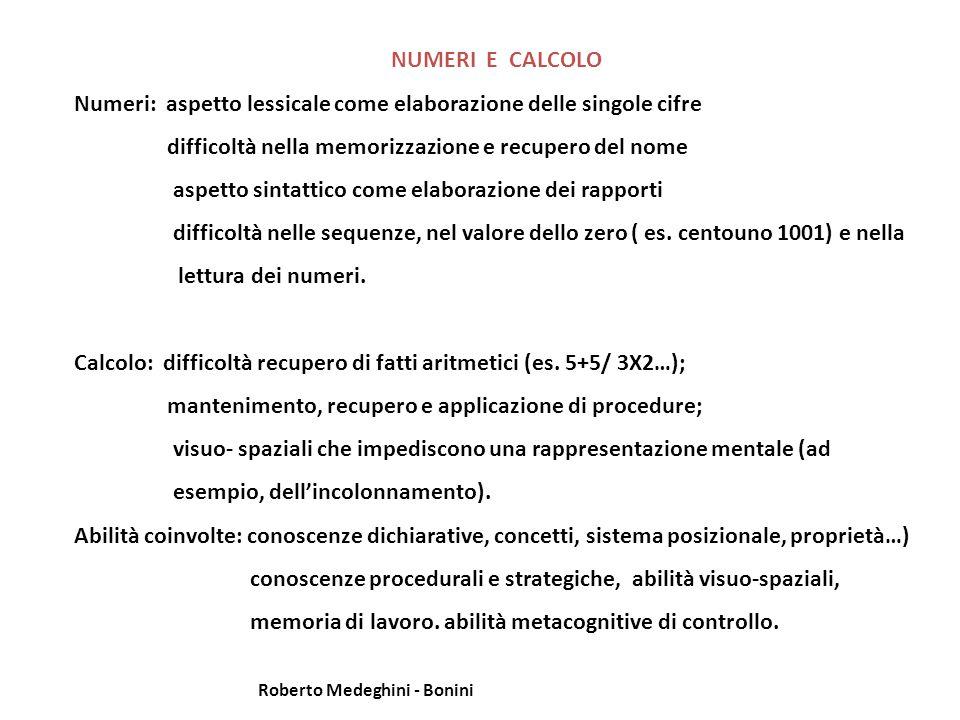 NUMERI E CALCOLO Numeri: aspetto lessicale come elaborazione delle singole cifre difficoltà nella memorizzazione e recupero del nome aspetto sintattico come elaborazione dei rapporti difficoltà nelle sequenze, nel valore dello zero ( es.