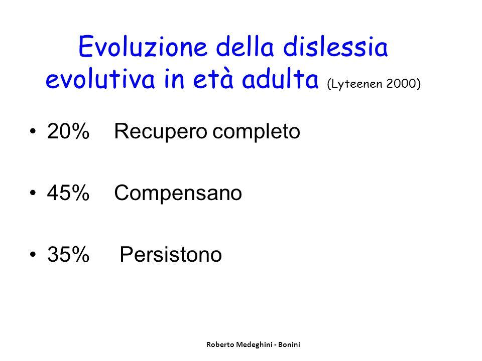 Evoluzione della dislessia evolutiva in età adulta (Lyteenen 2000) 20% Recupero completo 45% Compensano 35% Persistono Roberto Medeghini - Bonini
