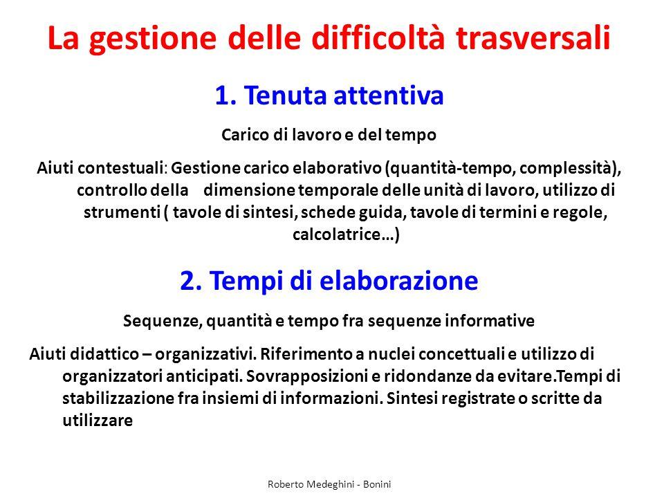 La gestione delle difficoltà trasversali 1.