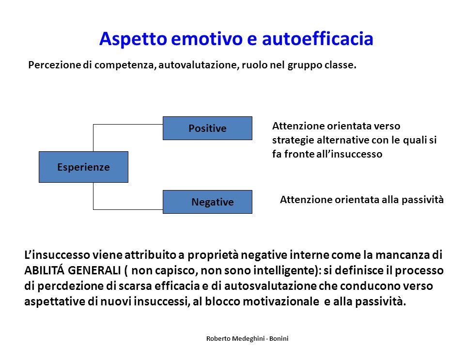 Aspetto emotivo e autoefficacia Percezione di competenza, autovalutazione, ruolo nel gruppo classe.