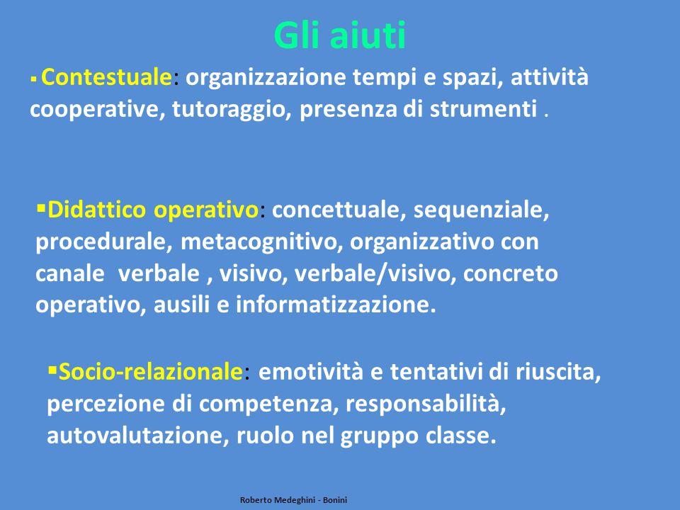 Gli aiuti  Socio-relazionale: emotività e tentativi di riuscita, percezione di competenza, responsabilità, autovalutazione, ruolo nel gruppo classe.