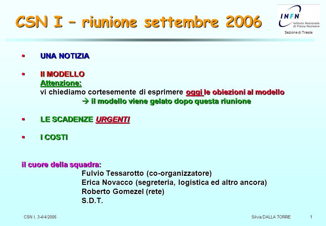 1 Sezione di Trieste Silvia DALLA TORRE CSN I, 3-4/4/2006 CSN I – riunione settembre 2006  UNA NOTIZIA  Il MODELLO Attenzione: vi chiediamo cortesem