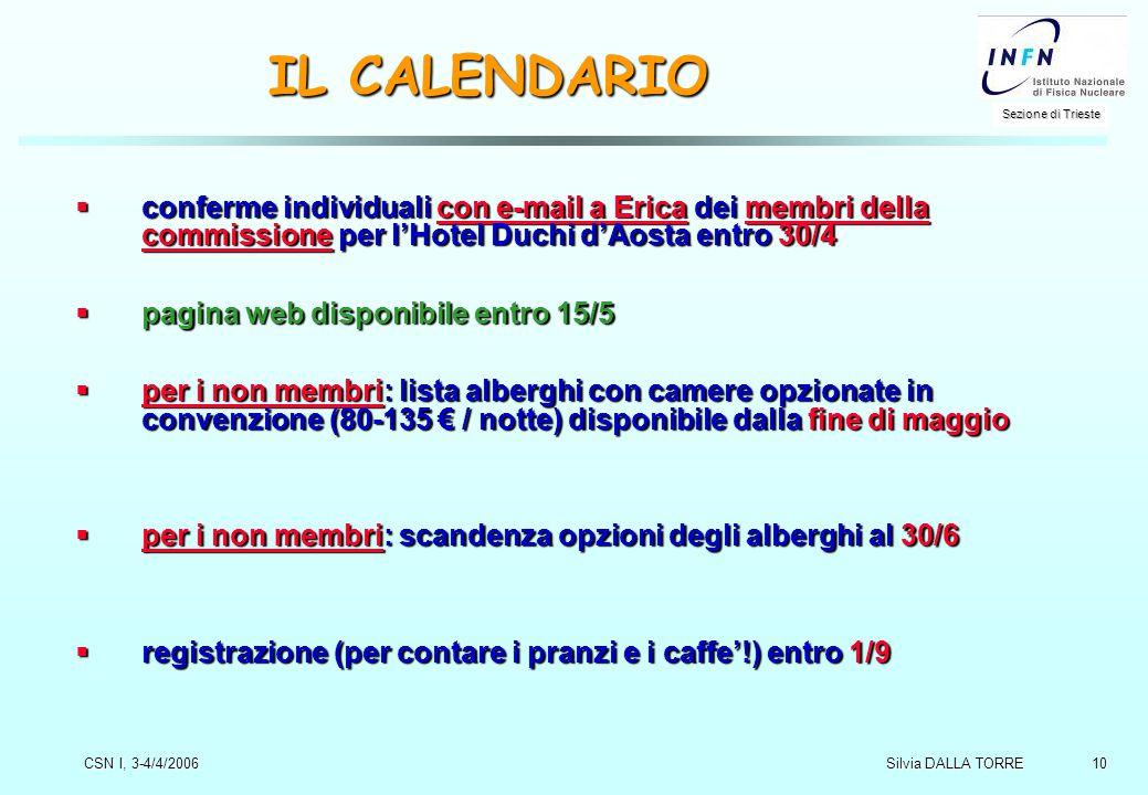 10 Sezione di Trieste Silvia DALLA TORRE CSN I, 3-4/4/2006 IL CALENDARIO  conferme individuali con e-mail a Erica dei membri della commissione per l'