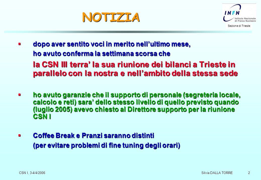 2 Sezione di Trieste Silvia DALLA TORRE CSN I, 3-4/4/2006 NOTIZIA  dopo aver sentito voci in merito nell'ultimo mese, ho avuto conferma la settimana
