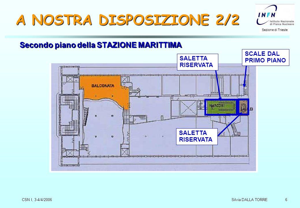 6 Sezione di Trieste Silvia DALLA TORRE CSN I, 3-4/4/2006 A NOSTRA DISPOSIZIONE 2/2 Secondo piano della STAZIONE MARITTIMA SALETTA RISERVATA SCALE DAL