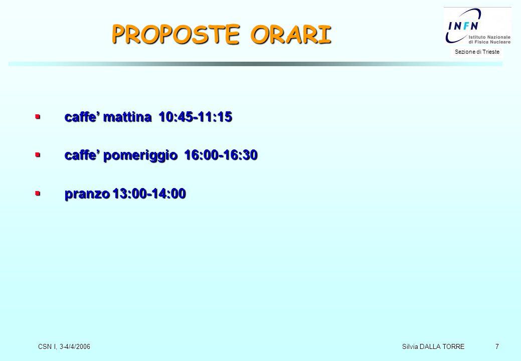 7 Sezione di Trieste Silvia DALLA TORRE CSN I, 3-4/4/2006 PROPOSTE ORARI  caffe' mattina 10:45-11:15  caffe' pomeriggio 16:00-16:30  pranzo 13:00-14:00