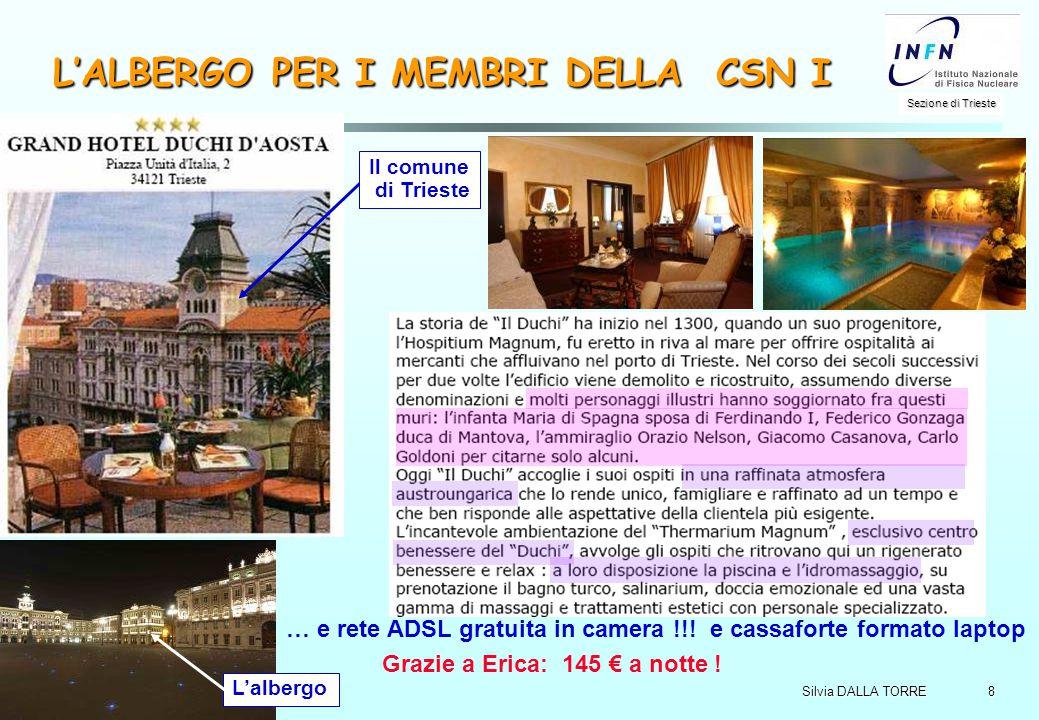 8 Sezione di Trieste Silvia DALLA TORRE CSN I, 3-4/4/2006 L'ALBERGO PER I MEMBRI DELLA CSN I … e rete ADSL gratuita in camera !!! e cassaforte formato