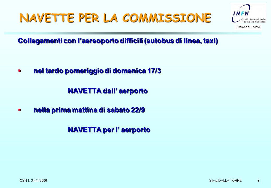 9 Sezione di Trieste Silvia DALLA TORRE CSN I, 3-4/4/2006 NAVETTE PER LA COMMISSIONE Collegamenti con l'aereoporto difficili (autobus di linea, taxi)