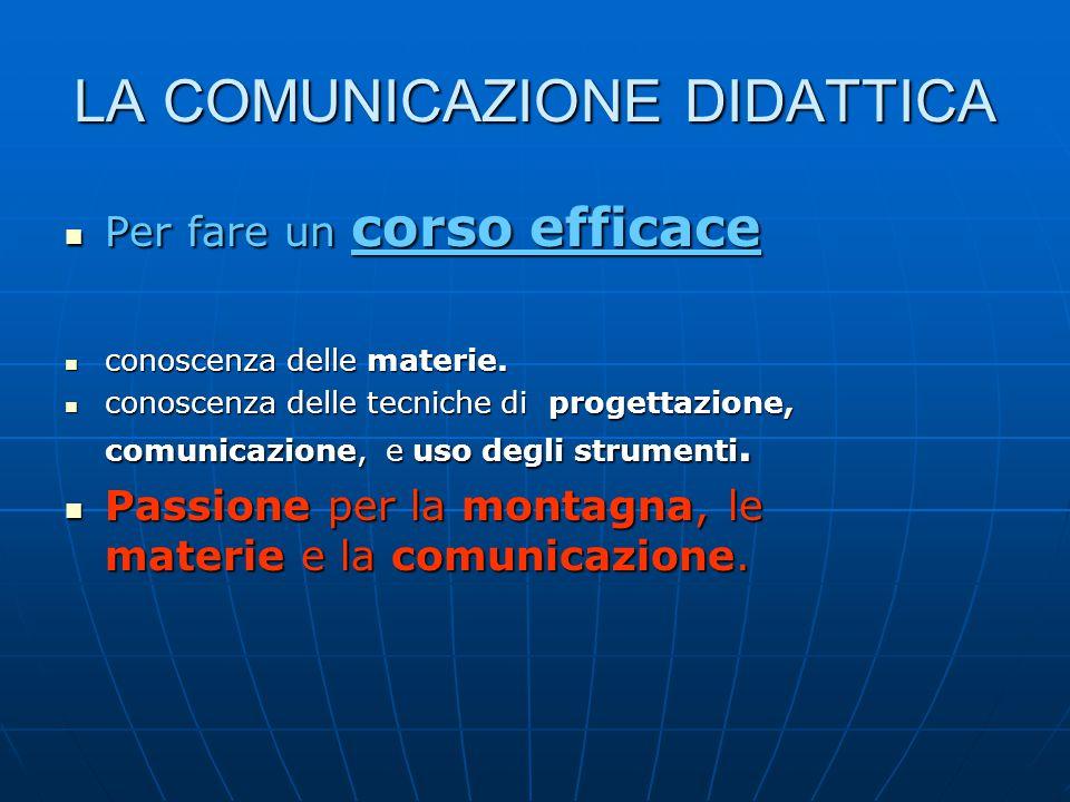 LA COMUNICAZIONE DIDATTICA Per fare un corso efficace Per fare un corso efficace conoscenza delle materie.