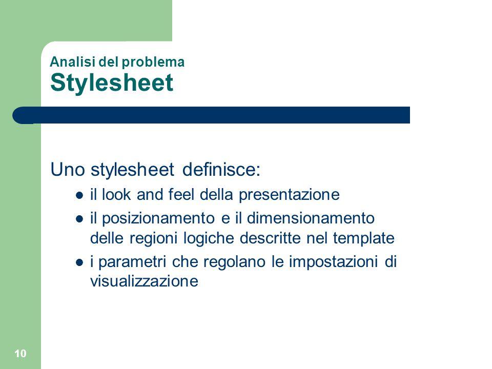 10 Analisi del problema Stylesheet Uno stylesheet definisce: il look and feel della presentazione il posizionamento e il dimensionamento delle regioni
