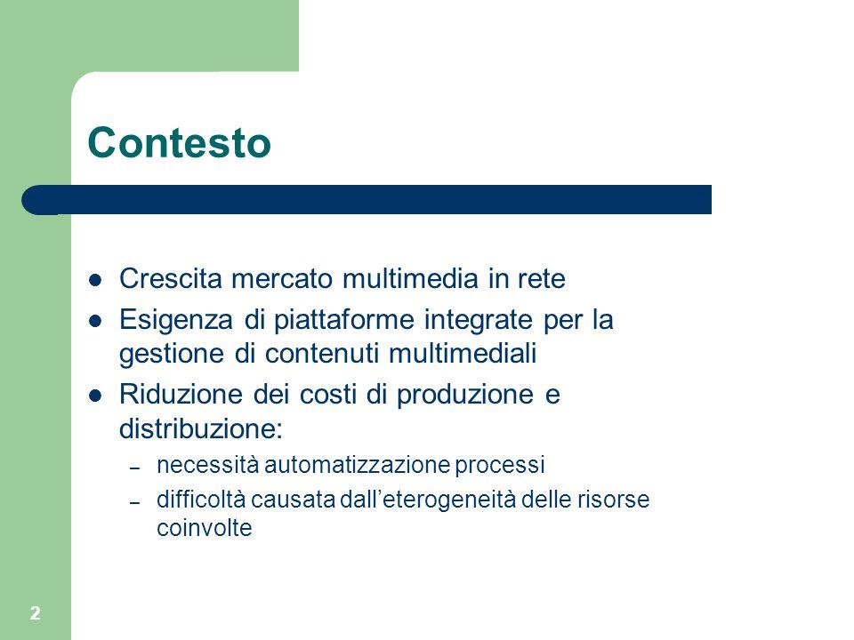 2 Contesto Crescita mercato multimedia in rete Esigenza di piattaforme integrate per la gestione di contenuti multimediali Riduzione dei costi di prod