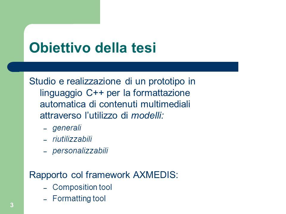3 Obiettivo della tesi Studio e realizzazione di un prototipo in linguaggio C++ per la formattazione automatica di contenuti multimediali attraverso l