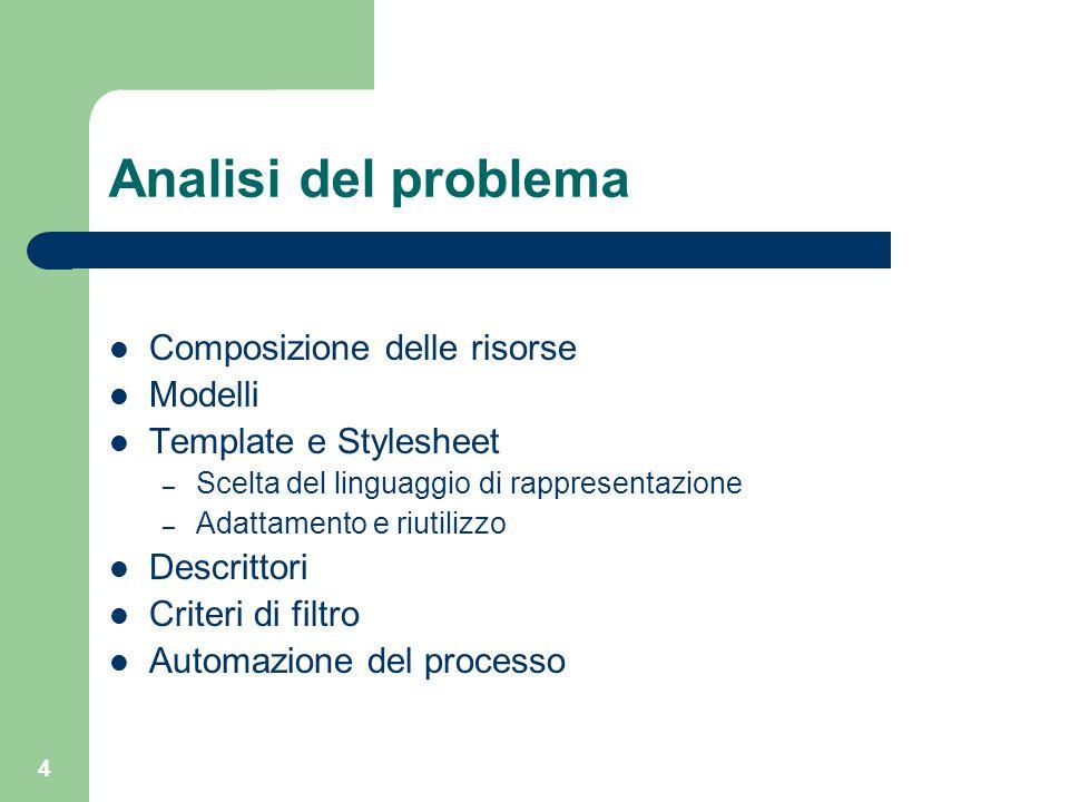 4 Analisi del problema Composizione delle risorse Modelli Template e Stylesheet – Scelta del linguaggio di rappresentazione – Adattamento e riutilizzo