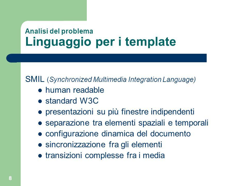 8 Analisi del problema Linguaggio per i template SMIL (Synchronized Multimedia Integration Language) human readable standard W3C presentazioni su più