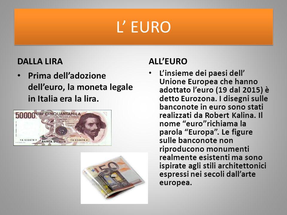 L' EURO DALLA LIRA Prima dell'adozione dell'euro, la moneta legale in Italia era la lira. ALL'EURO L'insieme dei paesi dell' Unione Europea che hanno