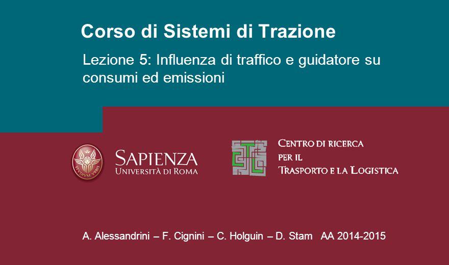 Corso di Sistemi di Trazione A. Alessandrini – F. Cignini – C. Holguin – D. Stam AA 2014-2015 Lezione 5: Influenza di traffico e guidatore su consumi