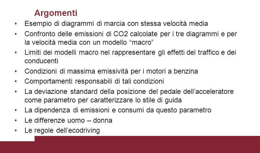 Esempio di diagrammi di marcia con stessa velocità media Confronto delle emissioni di CO2 calcolate per i tre diagrammi e per la velocità media con un
