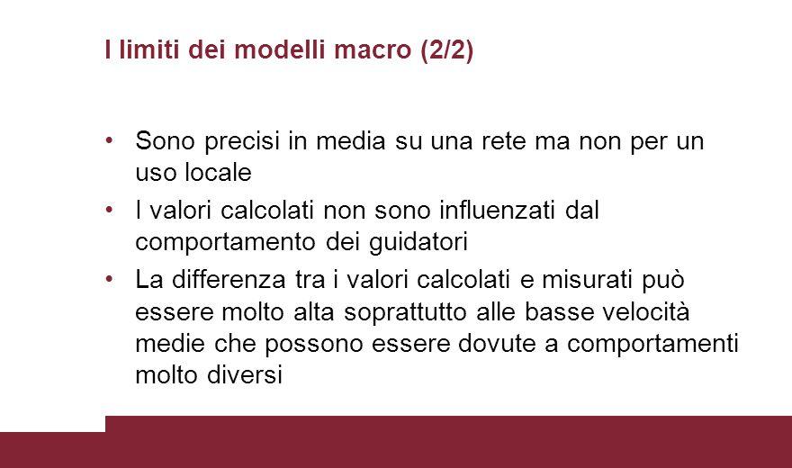 I limiti dei modelli macro (2/2) Sono precisi in media su una rete ma non per un uso locale I valori calcolati non sono influenzati dal comportamento